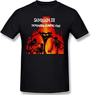 Men's Crewneck Basic Short Sleeve T-Shirt Samhain III November Coming Fire Rock Band Cotton Casual Tops