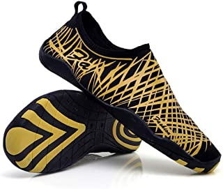 Marine Shoes Shoes (Golden) boys and girls universal size snorkeling shoes aqua shoes drifting wear diving shoes water sports shoes water shoes diving shoes large size (Color : Gold, Size : US5)