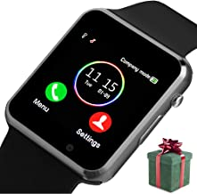 Smart Watch, Smart Watch for Android Phones with SD SIM Card Slot Touch Screen Watch Phone with Camera Pedometer Compatible with Bluetooth for iOS (Partial Functions) Sweatproof for Kids Men Women