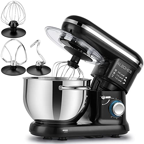 ALBOHES Classic Stand Mixer, 600W 6 Quart 6-Speed Tilt-Head Compact Electric Kitchen Mixers with Stainless Steel Bowl/Dough Hooks/Whisk/Flat Beater/Pouring Shield (Black)