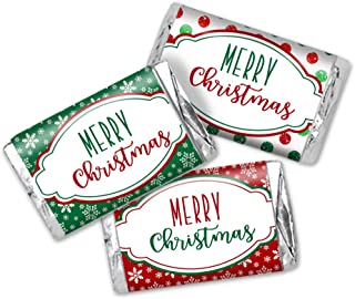 Personalized Merry Christmas Mini Candy Bar Wrappers - Set of 36 Holiday Themed Party Favor Stickers (CL105)