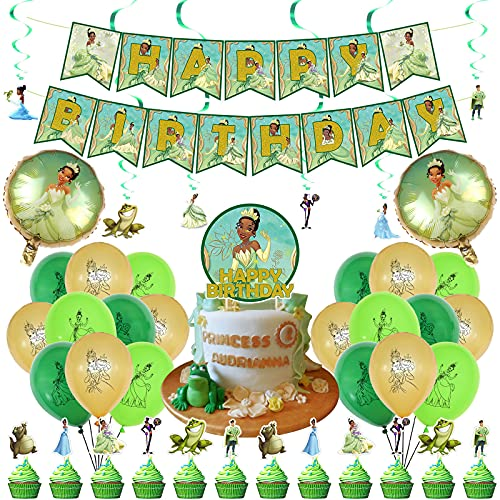 Princess Tiana Party Supplies,Princess and the Frog Tiana Party Decorations,The Princess and the Frog Theme Birthday Party Suppliers Includes Banner,Ballons,Cake Topper,Swirls,Princess Party Favor