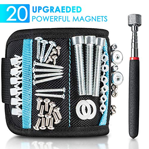 Orimade Magnetic Wristband with 20 Strong Magnets for Holding Screws, Nails, Drill Bits, Fasteners - Best Gadget Tool Gift for Men, DIY Handyman, Father/Dad, Husband, Boyfriend, Him, and Carpenter