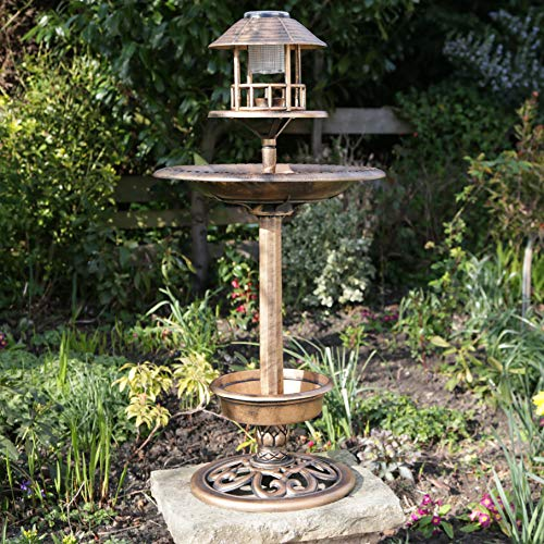 Kingfisher Bronze Copper Effect Solar Powered Bird Hotel
