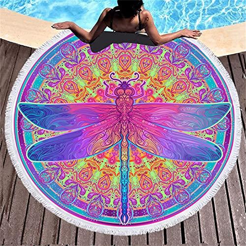 Toallas De Playa Redondas De La Serie De Impresión Digital Animal, Toallas De Baño De Microfibra Absorbente, Tapetes De Playa A Prueba De Arena De Secado Rápido 150 * 150cm
