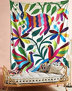 Otomi Mexican Tapestry Colorful Rabbit Wall Hanging Tapestry Fabric Wallpaper Bedspread Home Decor,60