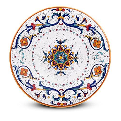 MICHELANGELO keramiek handgeschilderd Italië kunst & ambachten aardewerk - schaal voor muur, Ricco Deruta decoratie, in keramiek 35x35 H5 cm (BLUE)