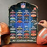 """Keep track of official NFL team standings throughout the regular season. 13.5"""" x 18.5"""" board features a realistic weathered design and embossed lettering. Includes high quality magnetic tin labels of all 32 NFL teams. Made of heavy-gauge steel that i..."""
