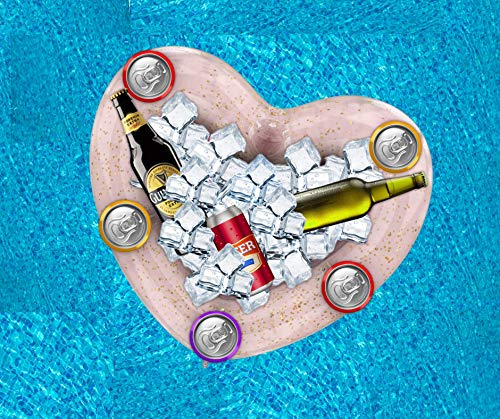 Inflatable Serving Cooler Bar Bridal Shower Decorations - Bachelorette Party Pool Floats Heart Shaped I Buffett I Ice Tray | Outdoor Indoor Accessories I Beach Hen Night Drink Floaties with Cup Holder
