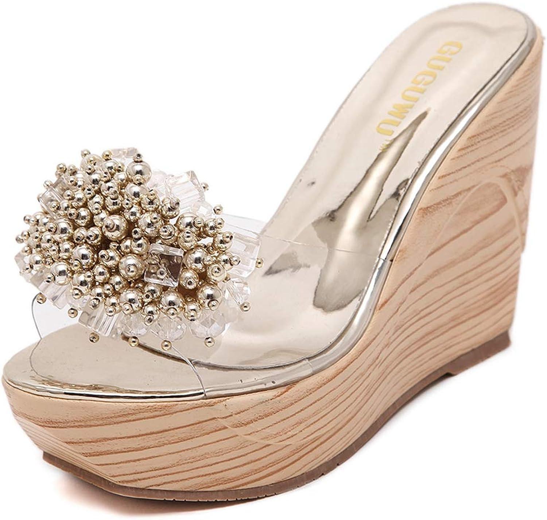 GIY Women's Glitter Flower Wedge Platform Slide Sandals Open Toe Slip on Clear Strappy Cork Roman High Heel Slipper
