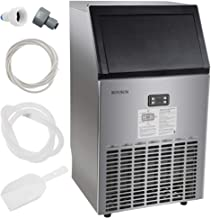 ROVSUN Commercial Ice Maker Automatic Built-In Stainless Steel Under counter/Portable Freestanding for Restaurant Bar, 33lbs Storage,100lbs/24h,5 Accessories, 18