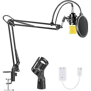 Neewer Micrófono Condensador Bulto, Micrófono Estudio Cardioide Profesional NW-700 Actualizado / Soporte Brazo Tijera con Suspensión Ajustable / Montaje Choque / Filtro Pop / Tarjeta de Sonido USB