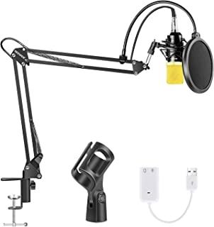 Neewer Condenser Microphone Bundle, Upgraded NW-700 Professional Cardioid Studio Mic/Adjustable Suspension Scissor Arm Stand/Shock Mount/Pop Filter/USB Sound Card for Studio Recording Broadcasting