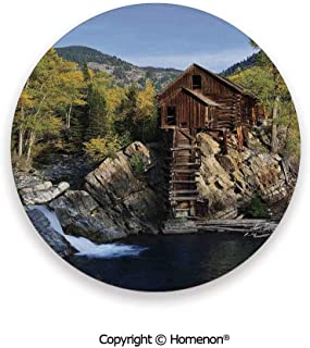 Secluded Wooden Cabin in Woods River Waterfall Forest Mill Mountain Pine Trees,Hot Sale Coasters Protection From Drink Multicolor,3.9×0.2inches(4PCS),Protect Furniture From Coffee Or Tea