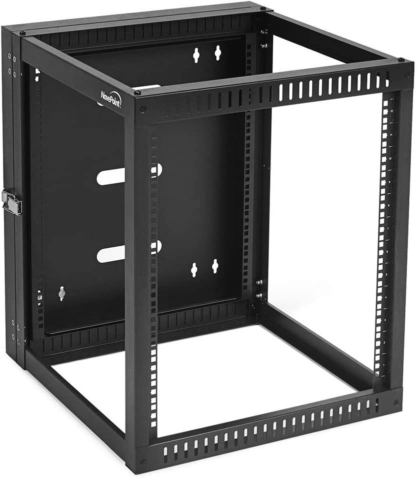 NavePoint 12U Hinged Open Frame Wall-Mount Network Rack, 4-Post 24 Inch Depth, Rear Swing Frame, Easy Rear Access to Equipment and Cable Management, Holds Network Servers and AV Equipment