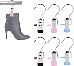 KADBLE Laundry Hanging Hooks with Clips Boot Hanger,Stainless Steel Home Travel Hangers Clips (6)