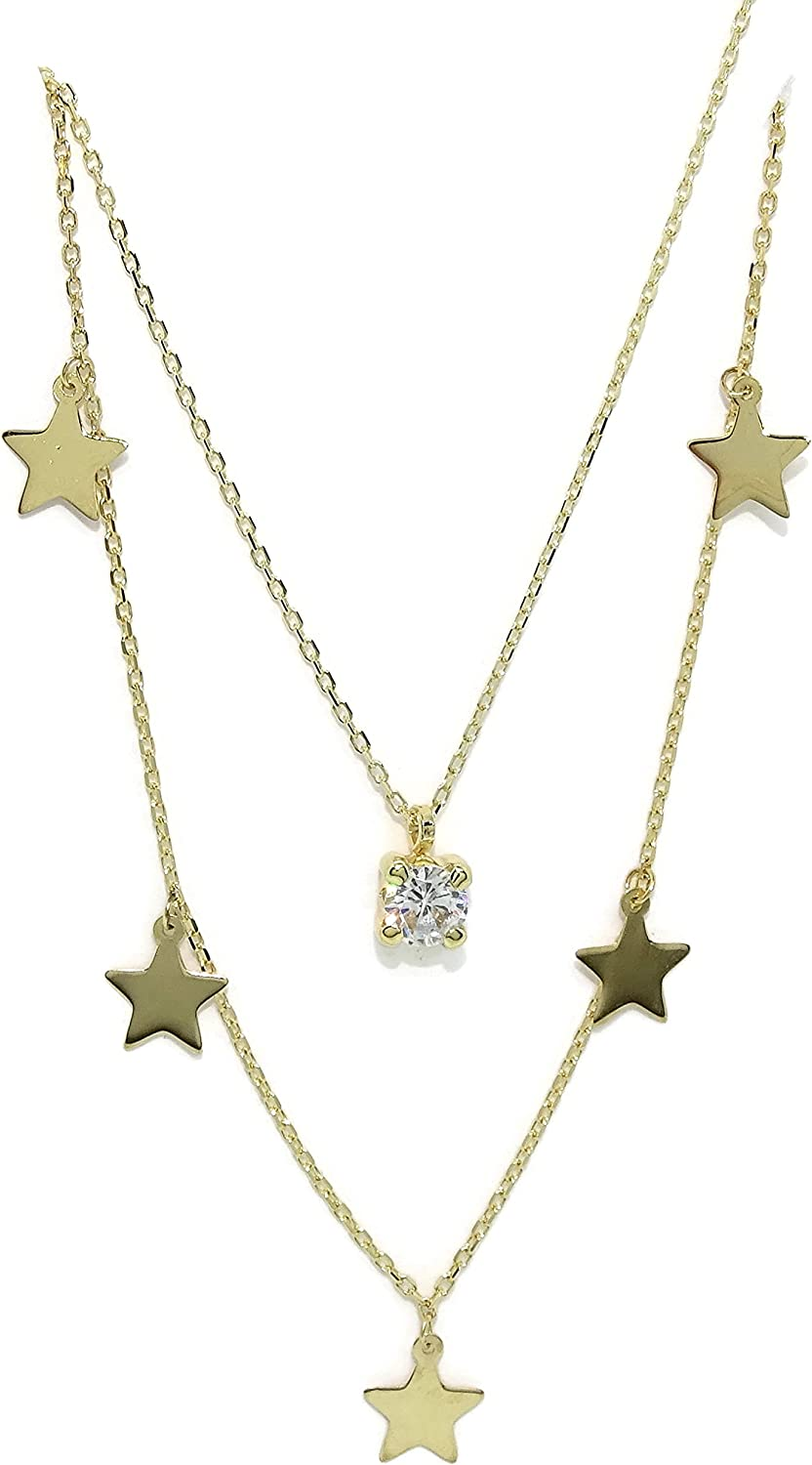 18K Gold Stars Collar Necklace for Women | Zirconia Solitaire Dangle Pendant Charm | Double Chain 45 cm long | 2.20 grams Real Gold | Never say Never Italian Fine Jewelry | Shiny Gift for Her