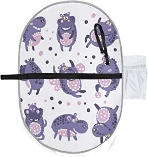 Dancing Hippos Portable Waterproof Baby Diaper Changing Pad Kit, Travel Home Change Mat Organizer Bag for Toddlers Infants and Newborns