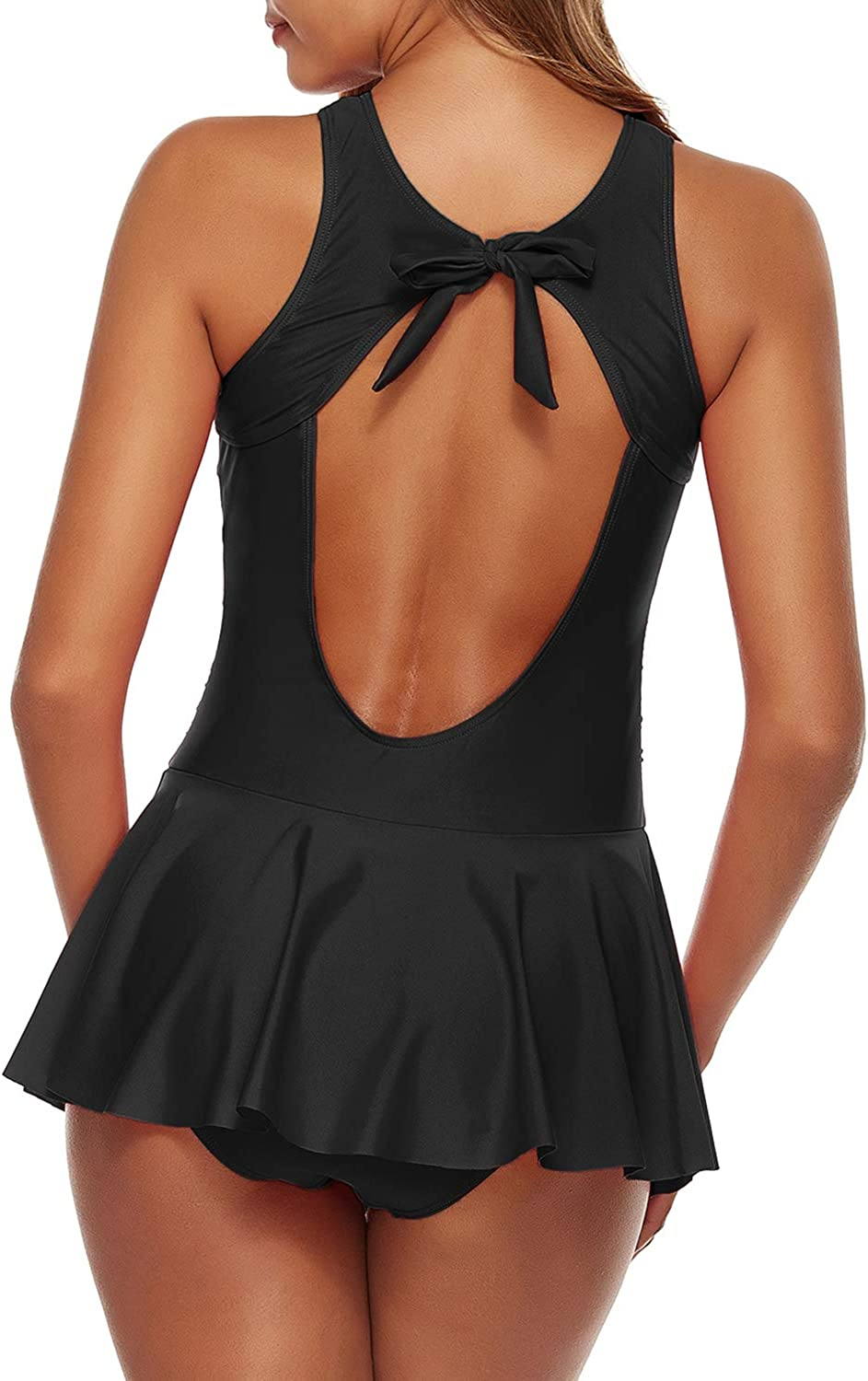 Urchics Womens Two Piece Tankini Swimdress Mesh Plunge Ruched Bathing Suit