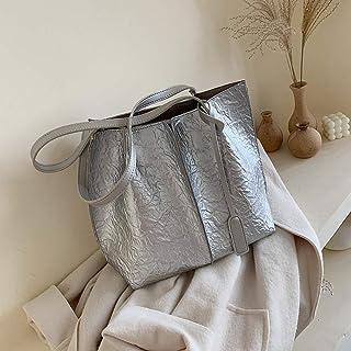 NIUPAN Women's Large Capacity Pure Color PU Leather Bucket Bag Shoulder Bag Women Travel Tote
