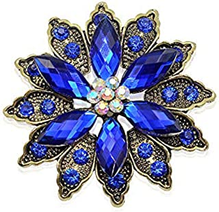 SX Commerce Vintage Flower Brooch for Women - Crystal Rhinestone Brooch Pins, Ideal Mothers, Wife, Sisters, Friends