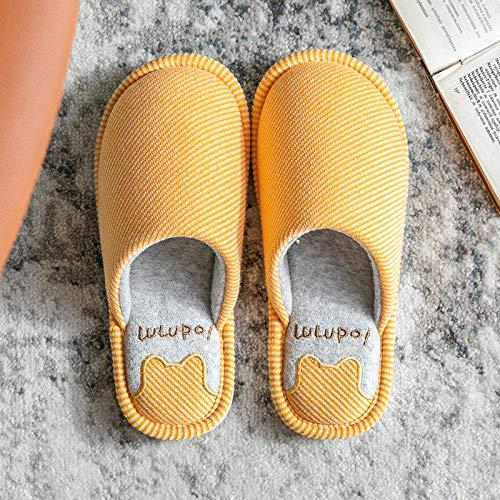 zapatillas casa hombre originales,Zapatillas para hombre, hogar, otoño / invierno, antideslizante, interior, fondo suave, silencioso, piso de madera para mujer, silencioso, invierno, tela, zapatillas