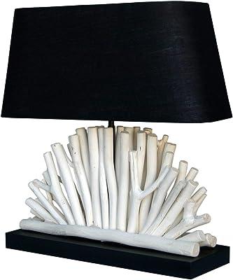 Lampe décorative en bois flotté avec abat-jour en tissu fait main E27 Lampe de table salon Calasine