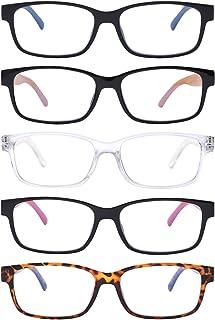 5-Packs Reading Glasses Blue Light Blocking,Spring Hinge Readers for Women Men Ray Tint Anti Glare UV Digital Eyestrain (#5-pack Mix Color, 2.5 x)
