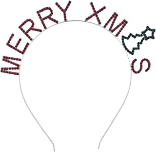Lux Accessories Silver Tone MERRY XMAS Letters Red Green Rhinestones Headband