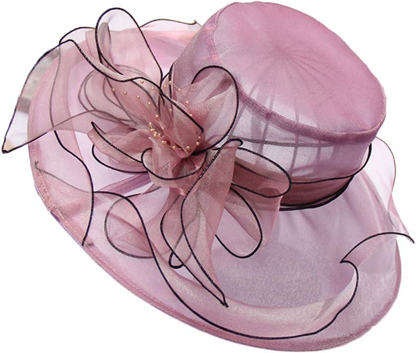 LIKUGD Womens Organza Church Fascinator Cap Tea Party Wedding Bridal Flower Hat Sun Hat,D