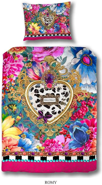 Melli Mello bettwäsche bettwäsche bettwäsche Romy mit große Herzen und farbigen Blaumen, 100% Baumwolle Satin-135x200cm, Satin Multi Colour 200x135x0,5 cm B01BF59NYC 3c21c7
