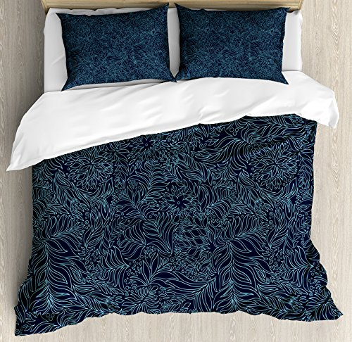 Ambesonne Navy and Teal Duvet Cover Set, Abstract Flourish Nature Inspired Pattern Leaves Blossoms, Decorative 3 Piece Bedding Set with 2 Pillow Shams, King Size, Turquoise Blue