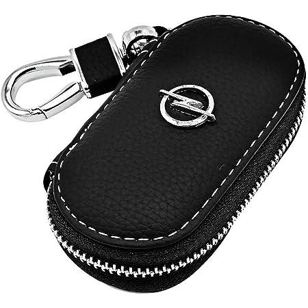 Villsion Pu Leder Schlüsselanhänger Schlüsseltasche Auto Schlüsselmäppchen Schlüssel Anhänger Mit Edelstahlhaken Metall Reißverschluss Schwarz Auto