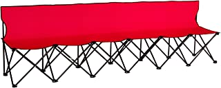 Trademark Innovations Portable Sports Bench With Back - Sits 6 People - (Red)