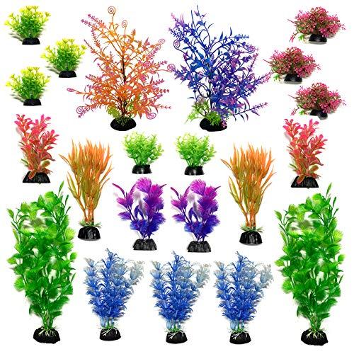 Aquarium Pflanzen Deko, PietyPet 21 Stück künstliche aquariumpflanzen, plastikpflanzen Dekoration Fuer Aquarium, bunt Kunstpflanzen Aquariumdekor, Klein to Groß