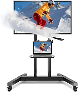 Rolling/Mobile TV Cart with Wheels Height Adjustable for Most 37-75 Inch Plasma LCD LED 4K Flat Screen or Curved TVs,TV Tr...
