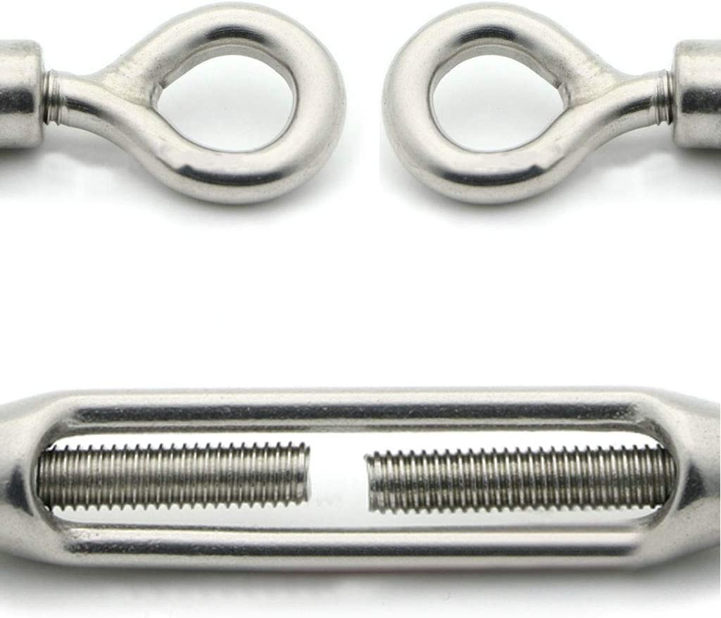 LPPL Heavy Duty Eye /& Eye Turnbuckle Hook Wire RopeTension Stainless Steel 304 Easy to Use and Durable for Adjustable 2 PCS