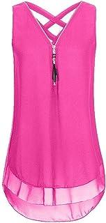 QIYUN.Z Women's Sleeveless Tank Top Chiffon Double Layers Solid Color Casual Blouse Top T Shirt