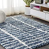 JONATHAN Y Merida Stacked Grid Shag Indigo Blue/Ivory 3 ft. x 5 ft. Area Rug, Bohemian, Easy Cleaning, For Bedroom, Kitchen, Living Room, Non Shedding
