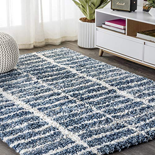 JONATHAN Y Merida Stacked Grid Shag Indigo Blue/Ivory 5 ft. x 8 ft. Area Rug, Bohemian, Easy Cleaning, For Bedroom, Kitchen, Living Room, Non Shedding