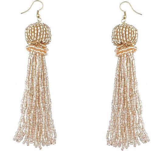 df682847400258 Lux Accessories Trendy Beige Boho Seed Bead Tassel Dangle Statement Earrings