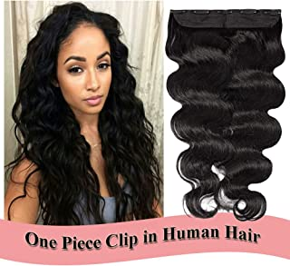 Clip in Human Hair Extensions 22 inch Dark Black #1 One Piece 5 Clips Body Wave Thick Soft Human Hair 3/4 Full Head Double Thread Weft (22