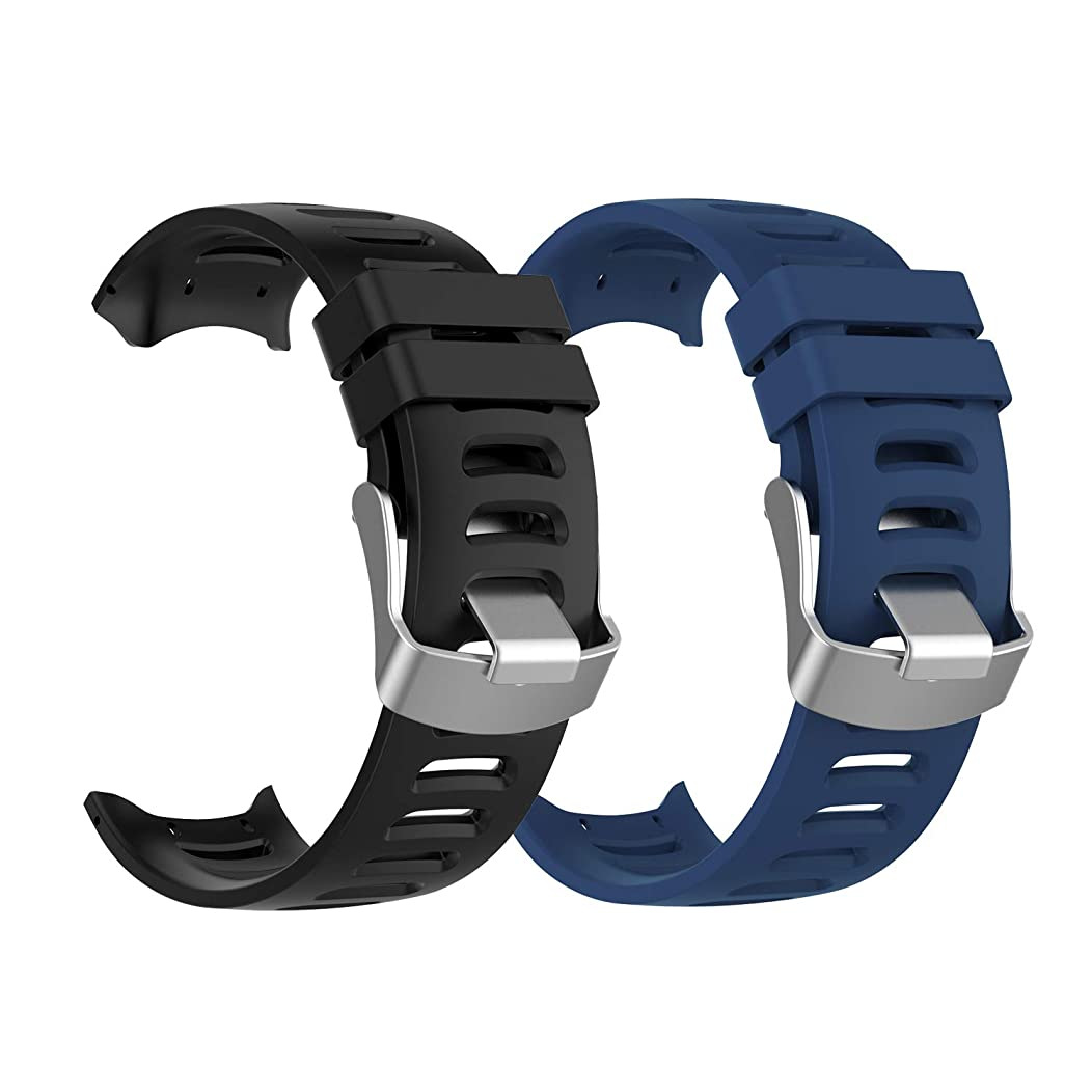 for Garmin Forerunner 610 Bands Replacement Accessory Sport Colourful Silicone Bracelet Strap Band for Garmin Forerunner 610 GPS Smart Watch, Soft and Durable with Tool and Screw (2Pack)