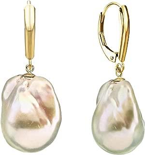 White Baroque Cultured Freshwater Pearl Dangle Fancy Earrings for Women 15-17mm in 14k Gold