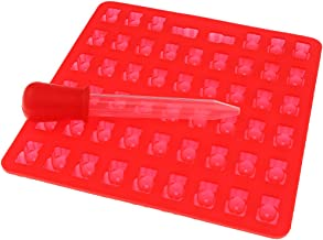 HOMYL Silicone Gummy Bear Candy Chocolate Mold with A Dropper - 53-Red