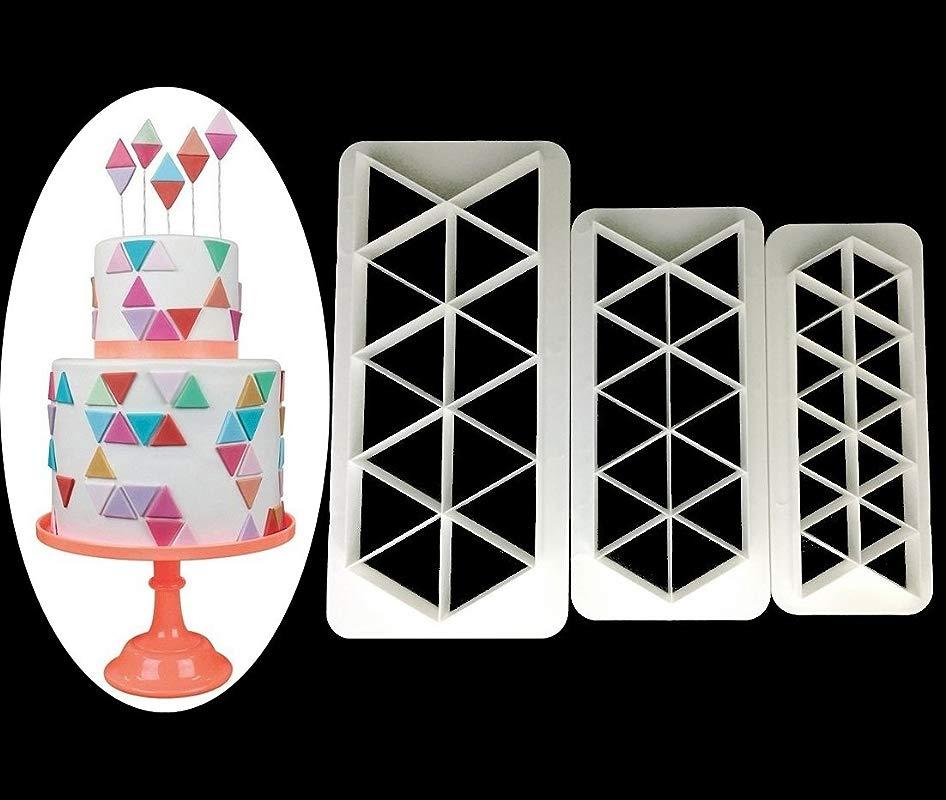 Triangle Cookie Cutter Geometric Multicutter Triangle Cake Fondant Cutter 3 Size Triangle Flag Bunting Biscuit Cutters Novel Creative Cake Decorating