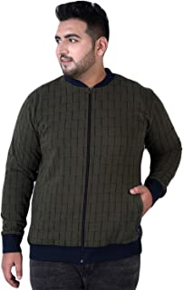 JOHN PRIDE Men's Plus Size Mandarin Collar Olive Front-Open Sweatshirt