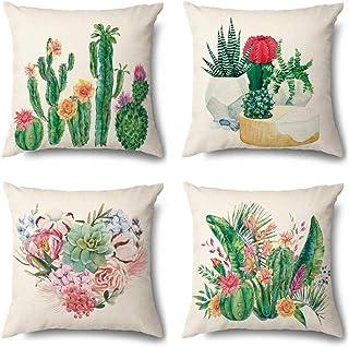 IUYJVR Juego de 4 Fundas de cojín 45 x 45 cm Funda de Almohada Decorativa de algodón y Lino Fundas de Cojines para decoración del hogar del sofá del Coche-Un Cactus
