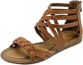 186679451a200 Ollio Women s Shoe Gladiator Strappy Zip Closure Multi Color Sandal