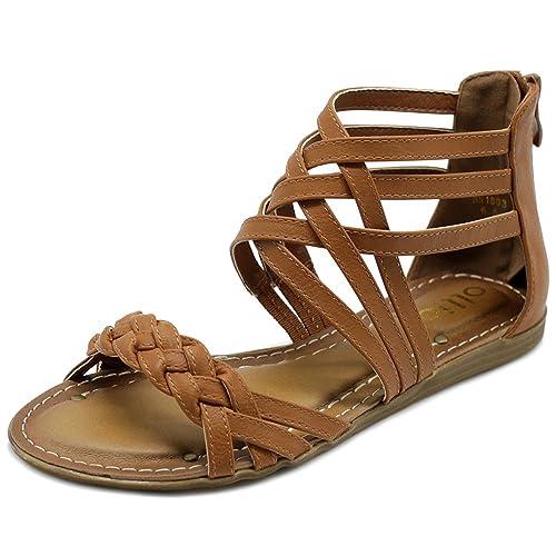 31851048f97f Ollio Women s Shoe Gladiator Strappy Zip Closure Multi Color Sandal